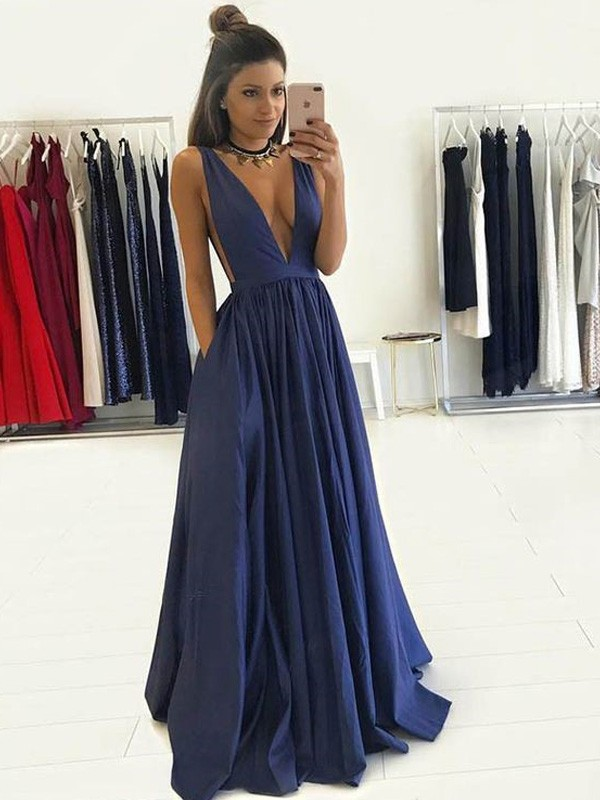 Trendy A-Line V-neck Cut Taffeta Long Dresses With Ruffles