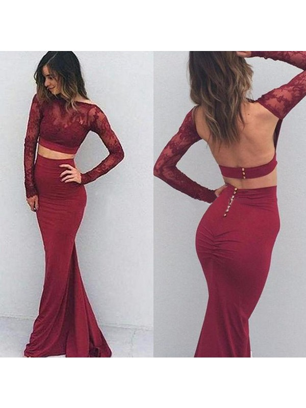 Dreamlike Mermaid Bateau Cut Spandex Long Dresses With Applique