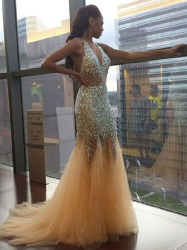 Stylish Mermaid Halter Cut Tulle Long Dresses With Sequin