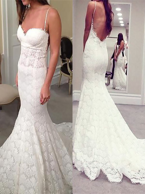 Dreamlike Mermaid Spaghetti Straps Cut Lace Long Wedding Dresses With Ruffles