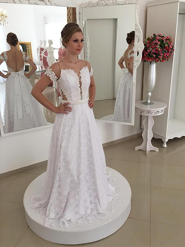 Brilliant A-Line Scoop Cut Lace Long Wedding Dresses With Ruffles