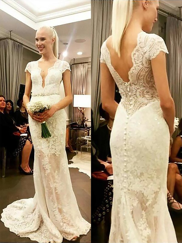 Modern Sheath V-neck Cut Lace Long Wedding Dresses With Ruffles