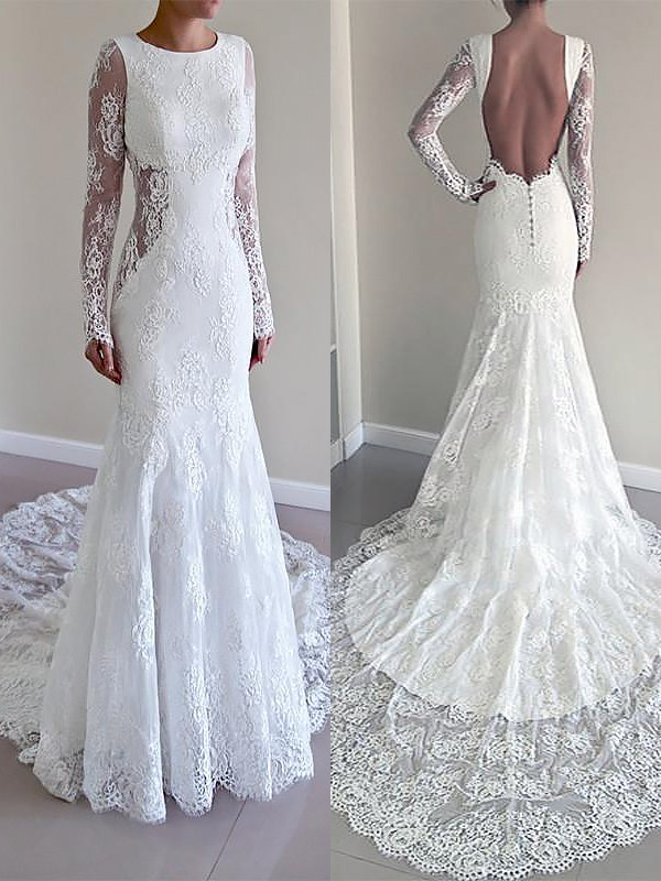 Soft Mermaid Scoop Cut Lace Long Wedding Dresses With Ruffles