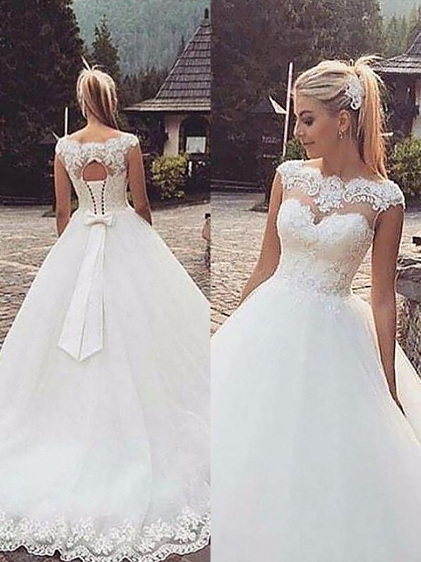 Radiant Ball Gown Bateau Cut Tulle Long Wedding Dresses With Ruffles