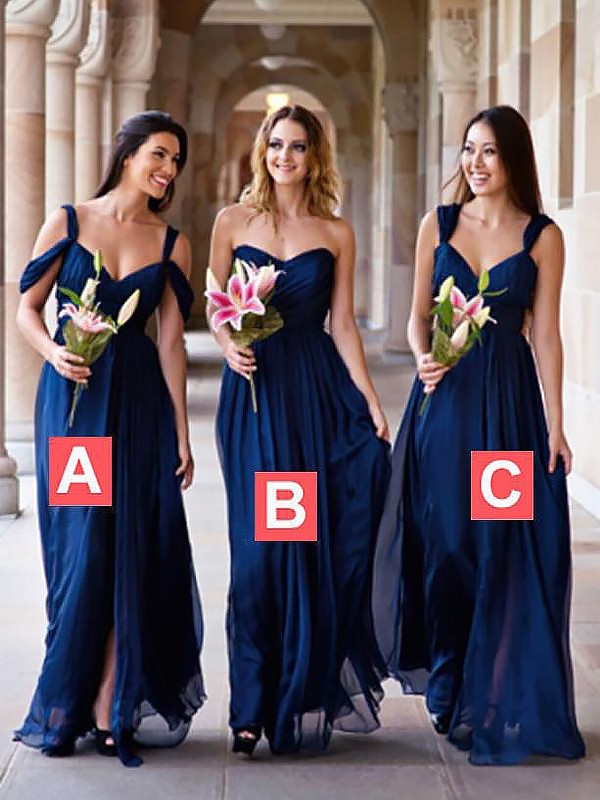 Nice A-Line Sweetheart Cut Chiffon Long Bridesmaid Dresses With Ruffles