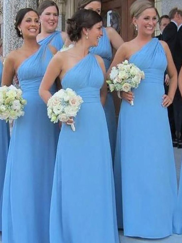 Special Sheath One-Shoulder Cut Chiffon Long Bridesmaid Dresses With Ruffles