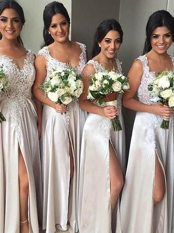 Radiant Sheath V-neck Cut Silk Like Satin Long Bridesmaid Dresses With Ruffles