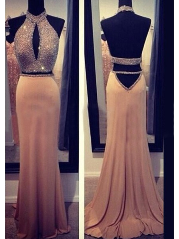 Exquisite Sheath Halter Cut Chiffon Long Dresses With Beading