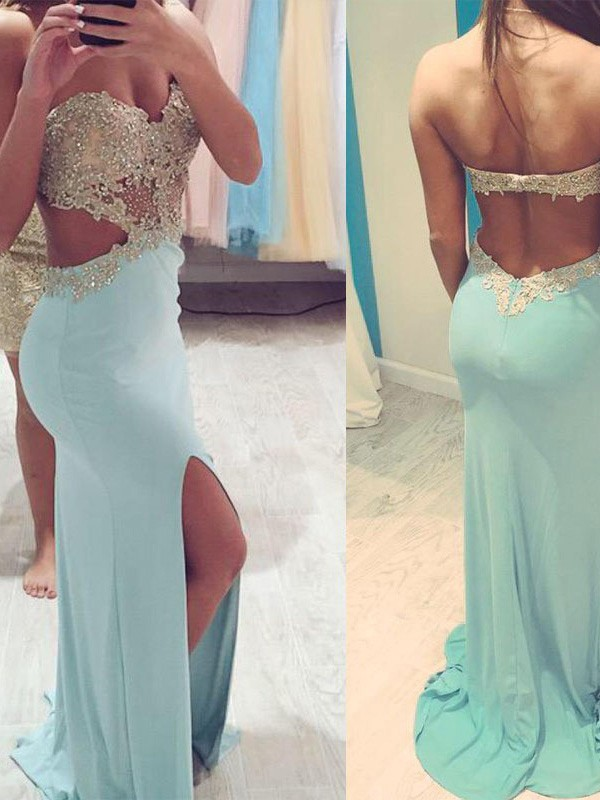 Charming Sheath Sweetheart Spandex Long Dresses With Beading