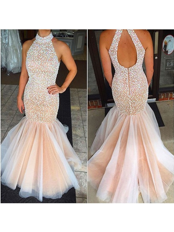 Amazing Mermaid Halter Cut Tulle Long Dresses With Beading