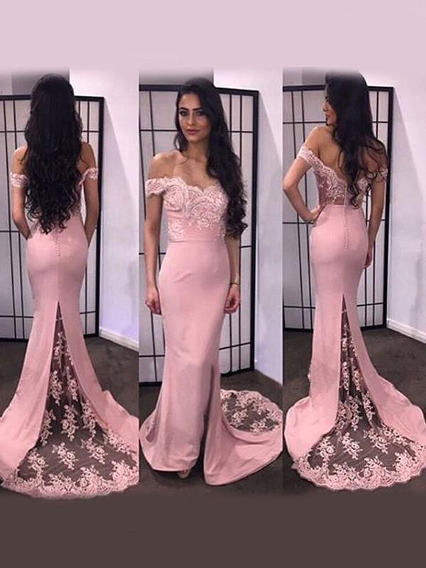Lovely Mermaid Off-the-Shoulder Cut Satin Long Dresses With Lace