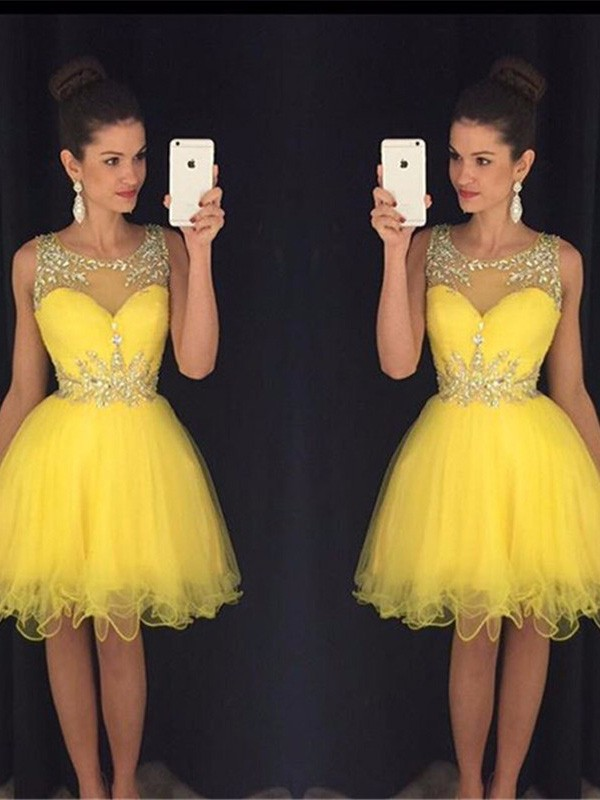 Bright A-Line Scoop Cut Tulle Short Dresses With Beading