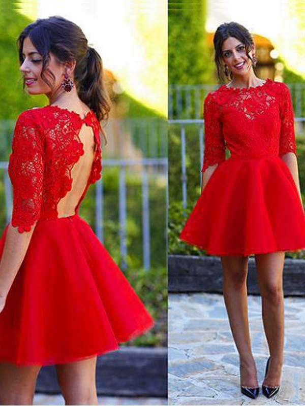 Dreamlike A-Line Scoop Cut Lace Short Dresses With Lace