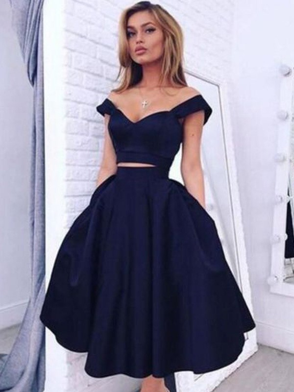 Shining A-Line Off-the-Shoulder Cut Satin Short Two Piece Dresses With Ruffles