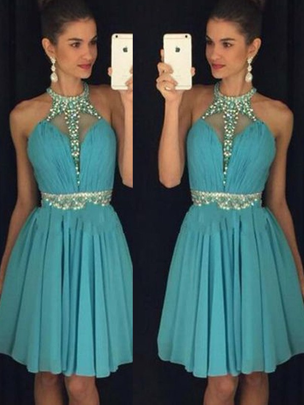 Sweet A-Line Halter Cut Chiffon Short Dresses With Beading