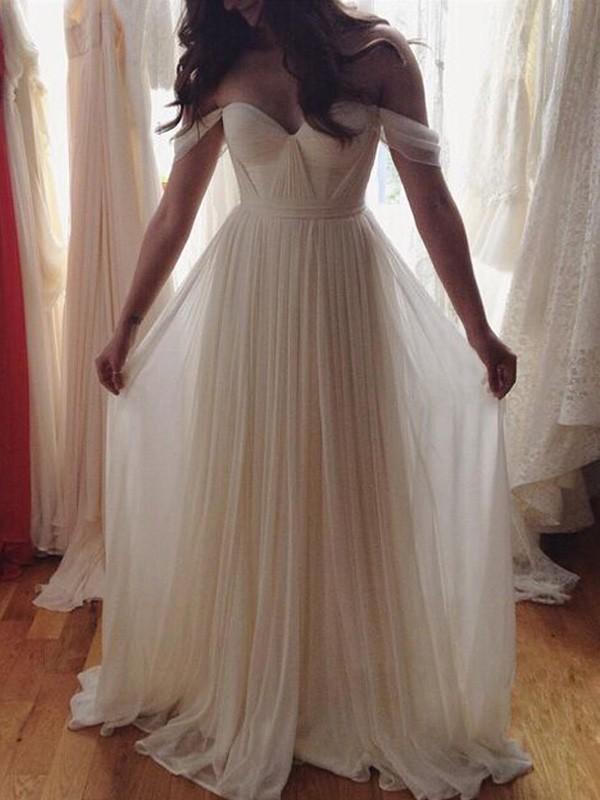 Elegant A-Line Off-the-Shoulder Cut Chiffon Long Dresses With Beading