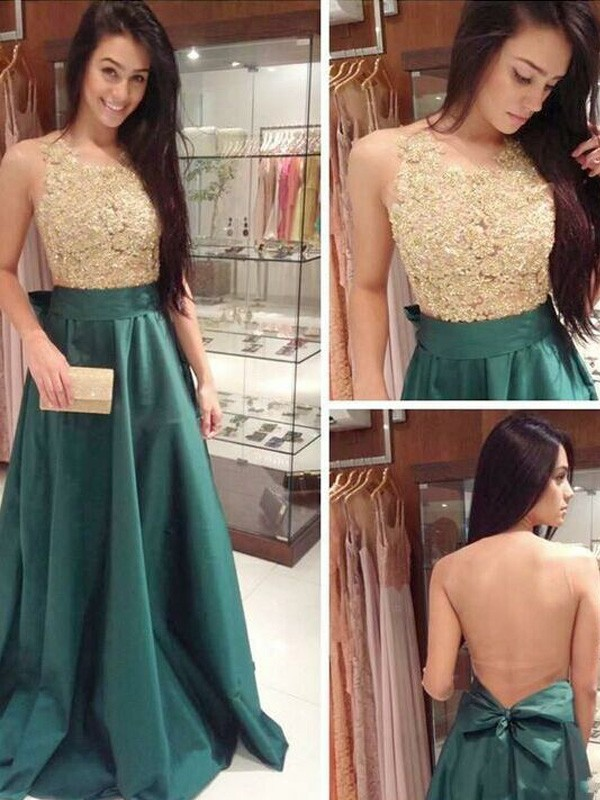 Lovely A-Line Scoop Cut Satin Long Dresses With Bowknot