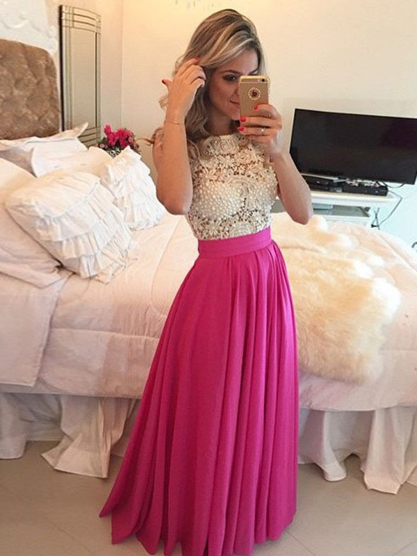 Shining A-Line Scoop Cut Chiffon Long Dresses With Lace