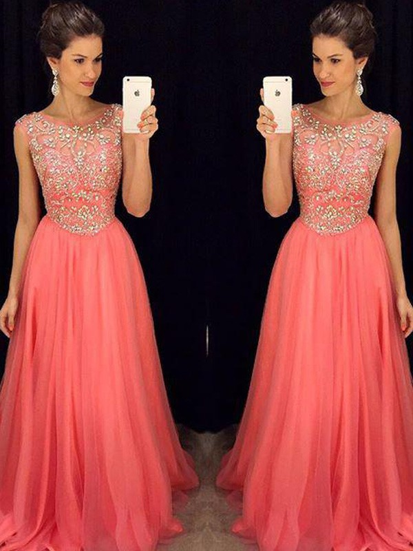 Attractive A-Line Scoop Cut Chiffon Long Dresses With Beading