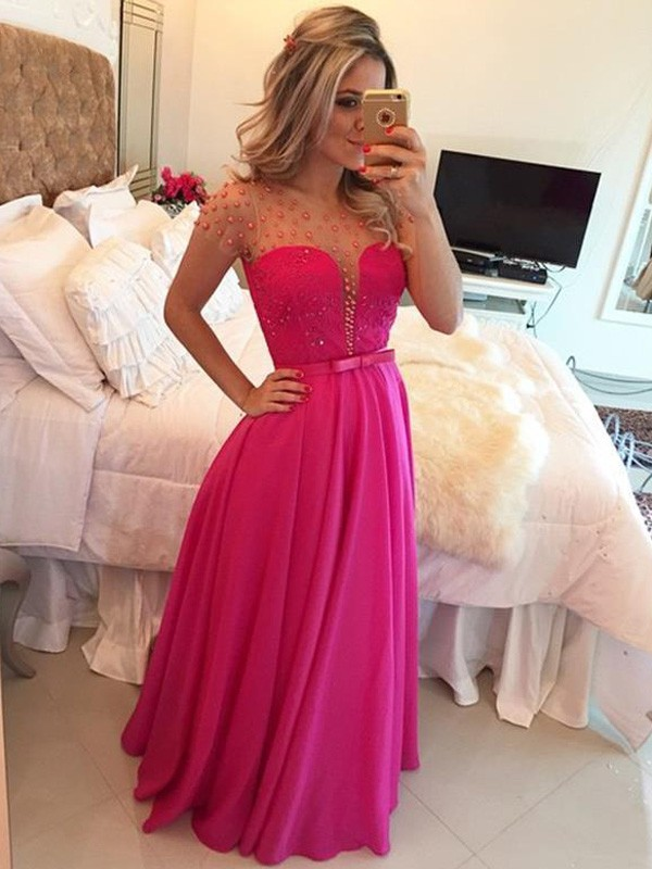 Special A-Line Scoop Cut Chiffon Long Dresses With Beading