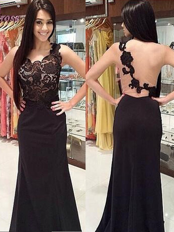 Delicate Sheath Scoop Cut Chiffon Long Dresses With Lace