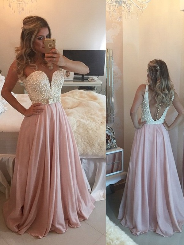 Bright A-Line Sweetheart Cut Chiffon Long Dresses With Pearls