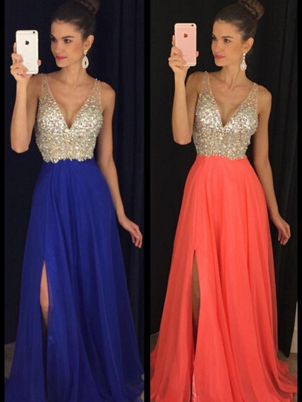 Brilliant A-Line V-neck Cut Chiffon Long Dresses With Beading