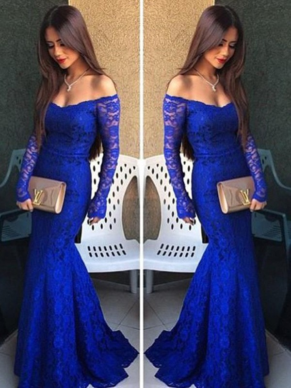 Soft Mermaid Off-the-Shoulder Cut Lace Long Dresses With Lace