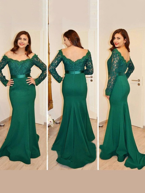 Hot Mermaid Off-the-Shoulder Cut Satin Long Dresses With Applique