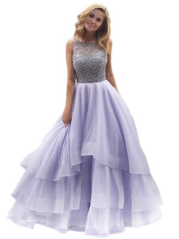 Elegant Ball Gown Scoop Cut Organza Long Dresses With Beading