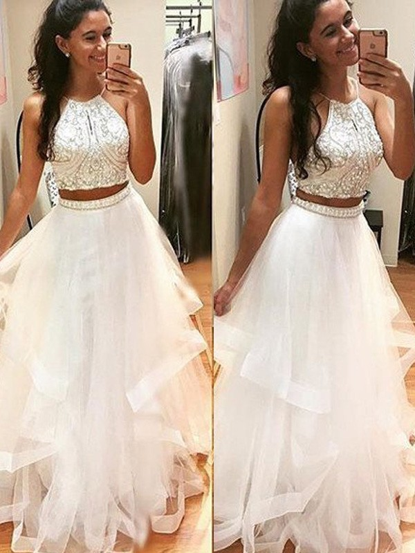 Awesome A-Line Halter Cut Tulle Long Dresses With Beading