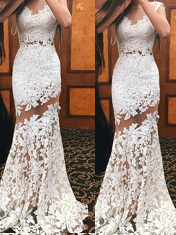Graceful Mermaid Scoop Cut Lace Long Dresses With Ruffles