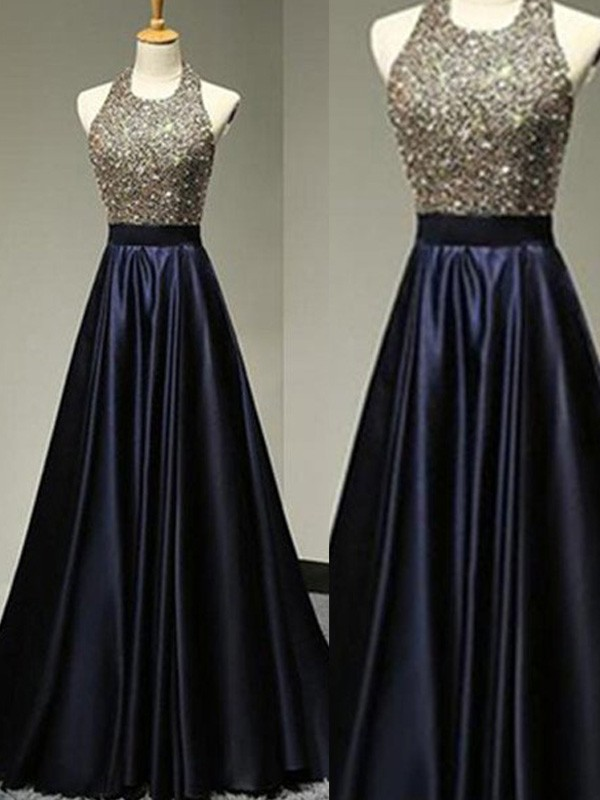 Stunning A-Line Halter Cut Satin Long Dresses With Beading