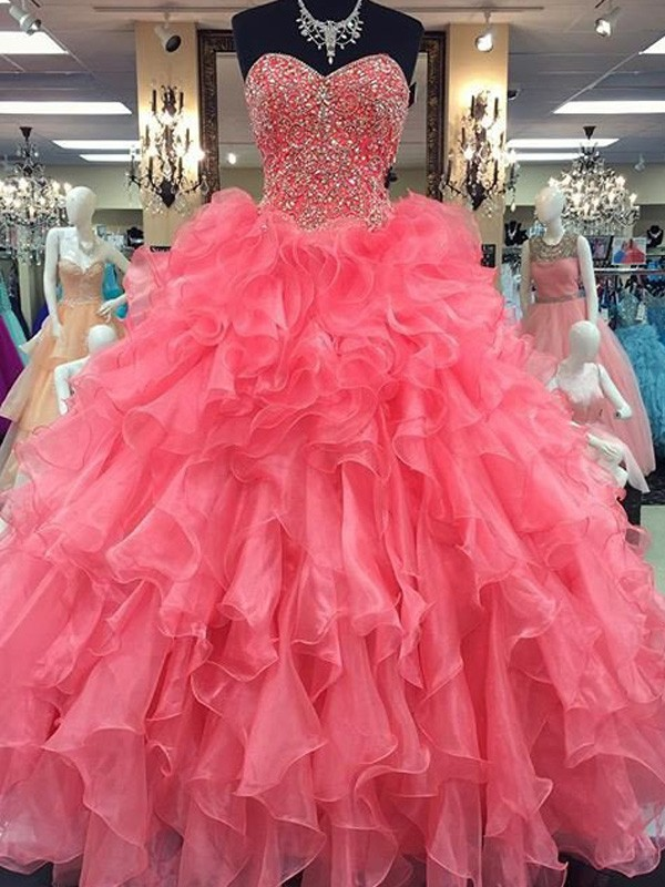 Chic Ball Gown Sweetheart Cut Organza Long Dresses With Beading