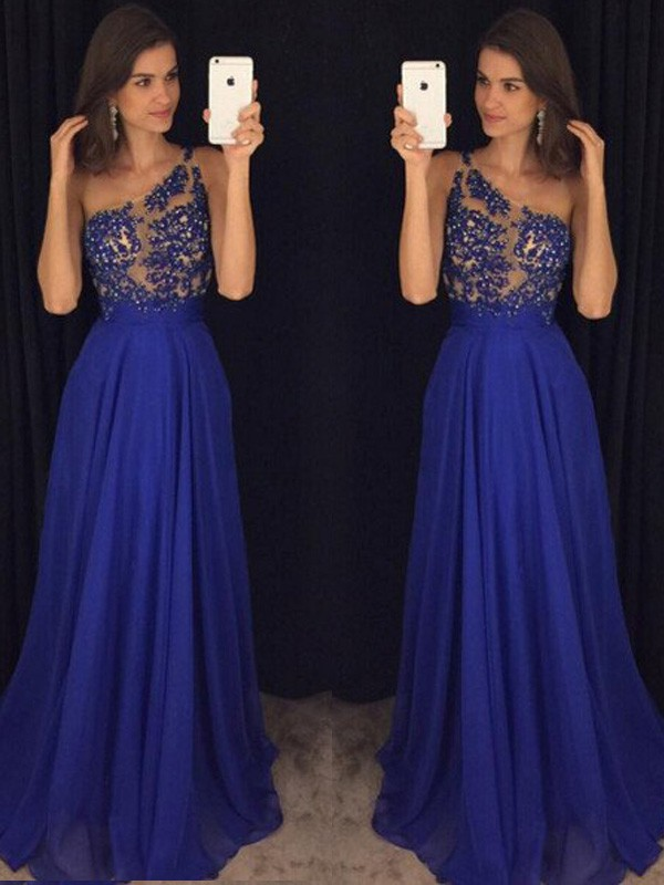 Sweet A-Line One-Shoulder Cut Chiffon Long Dresses With Beading