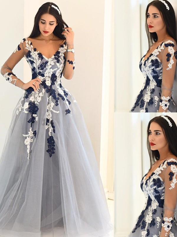 Chic A-Line V-neck Cut Tulle Long Dresses With Applique