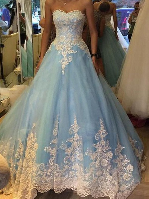 Awesome Ball Gown Sweetheart Cut Tulle Long Dresses With Applique