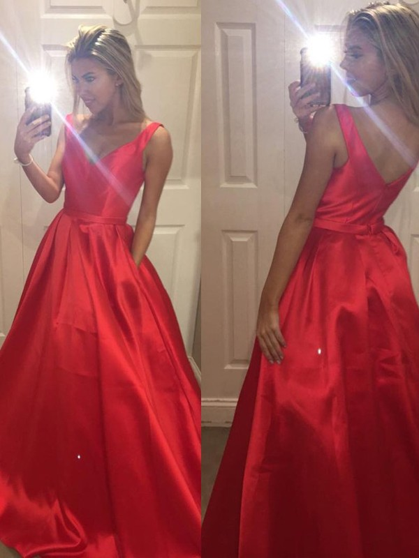 Amazing A-Line V-neck Cut Satin Long Dresses With Ruffles