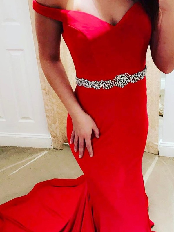 Stunning Mermaid Off-the-Shoulder Cut Satin Long Dresses With Beading