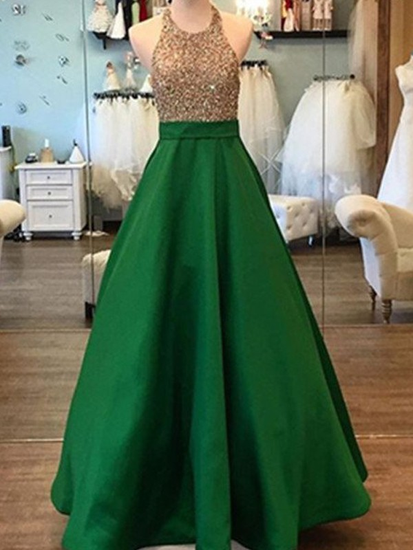 Brilliant A-Line Halter Cut Satin Long Dresses With Beading