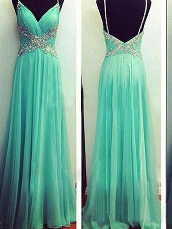 Sweet A-Line Spaghetti Straps Cut Chiffon Long Dresses With Beading