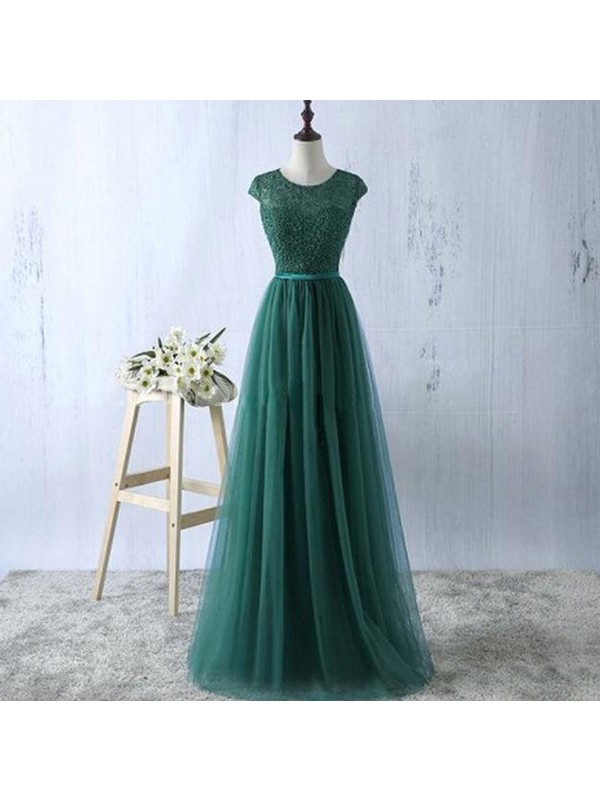 Chic A-Line Scoop Cut Tulle Long Dresses With Ruffles