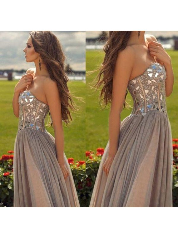 Sweet A-Line Sweetheart Cut Chiffon Long Dresses With Beading