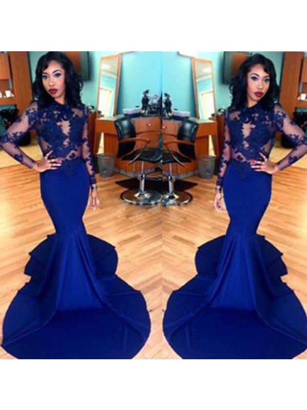 Stylish Mermaid Scoop Cut Satin Long Dresses With Lace