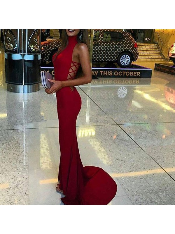 Trendy Mermaid High Neck Cut Spandex Long Dresses With Ruffles