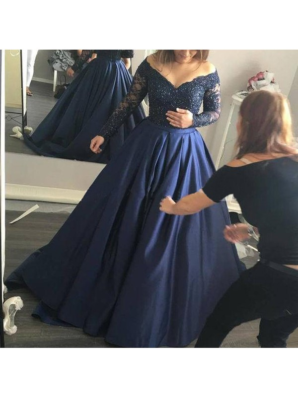 Nice Ball Gown Off-the-Shoulder Cut Satin Long Dresses With Beading