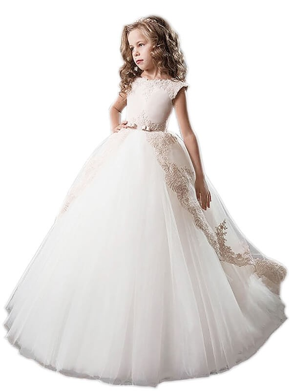 Romantic Ball Gown Scoop Cut Tulle Long Flower Girl Dresses With Applique