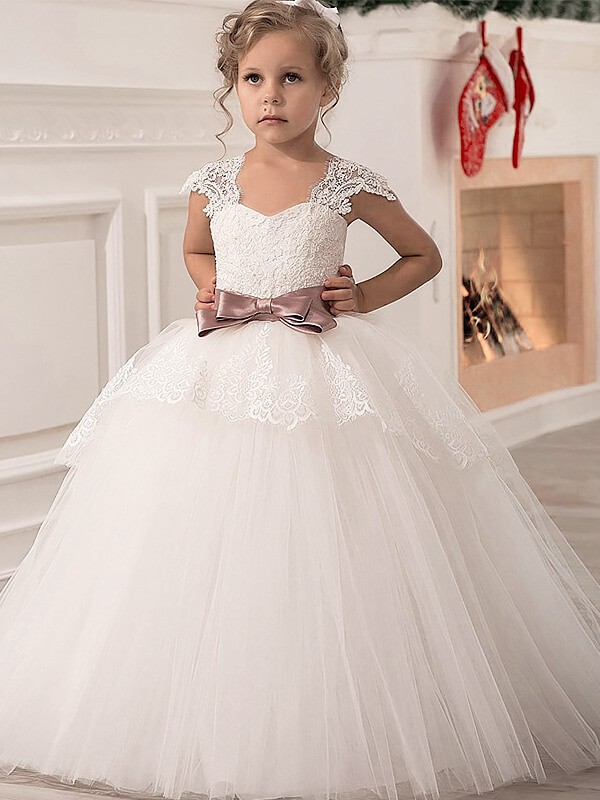 Special Ball Gown Straps Cut Tulle Long Flower Girl Dresses With Sash/Ribbon/Belt