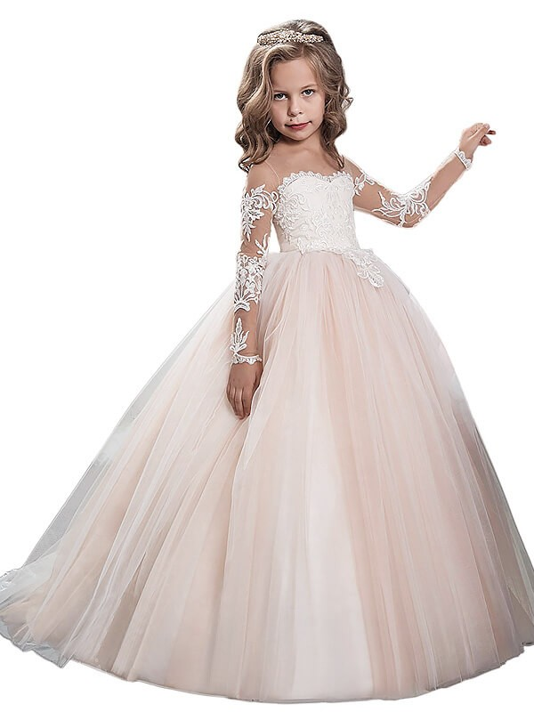 Bright Ball Gown Scoop Cut Tulle Long Flower Girl Dresses With Ruffles
