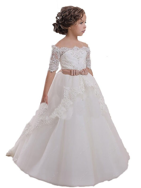 Modern Ball Gown Off-the-Shoulder Cut Tulle Long Flower Girl Dresses With Sash/Ribbon/Belt